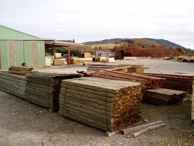 Treated timber in yard